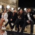 Kim Kardashian, Kourtney Kardashian, leur mère Kris Jenner et son compagnon Corey Gamble au défilé Givenchy, collection prêt-à-porter Printemps-Eté 2017, le 2 octobre 2016.