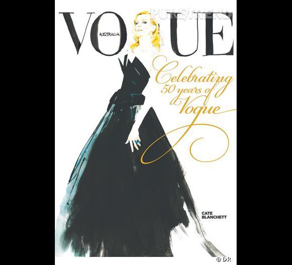 Cate Blanchett pour le Vogue Australie, illustration de David Downtown