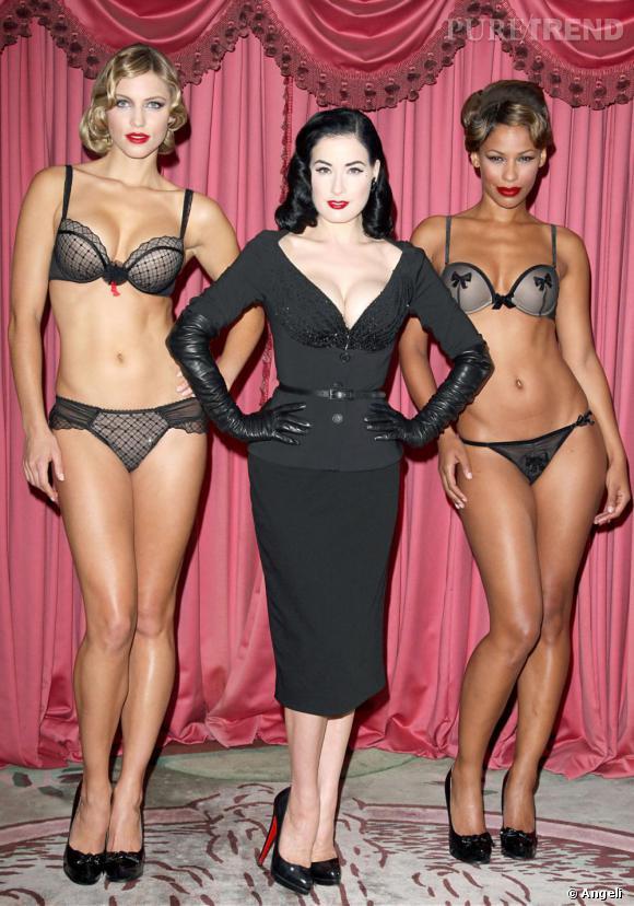 Dita Von Teese lors de sa campagne de promotion Wonderbra à Londres