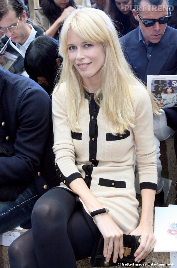 Cladia Schiffer, ex-égérie mais toujours muse pour la maison Chanel, était une saison de plus conviée au premier rang.