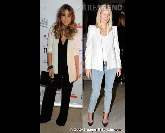 Qui de Gwyneth Paltrow et Rachel Stevens porte le mieux la veste de tailleur blanche ?