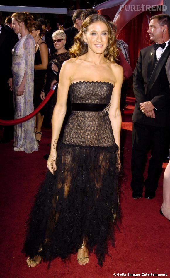 Sarah Jessica Parker en robe bustier longue, une de ses tenues préférées.