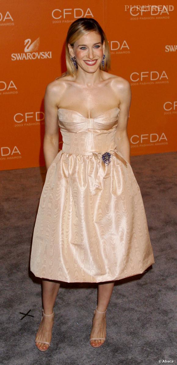 Style romantique et terriblement chic pour Sarah Jessica Parker qui a choisit une robe nude.