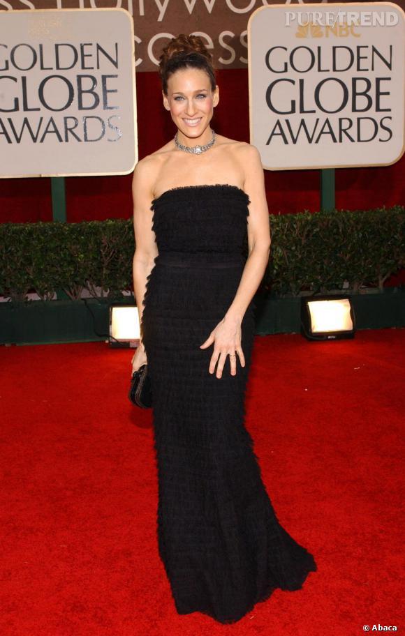 Sarah Jessica Parker porte à merveille cette robe à volants Rochas.