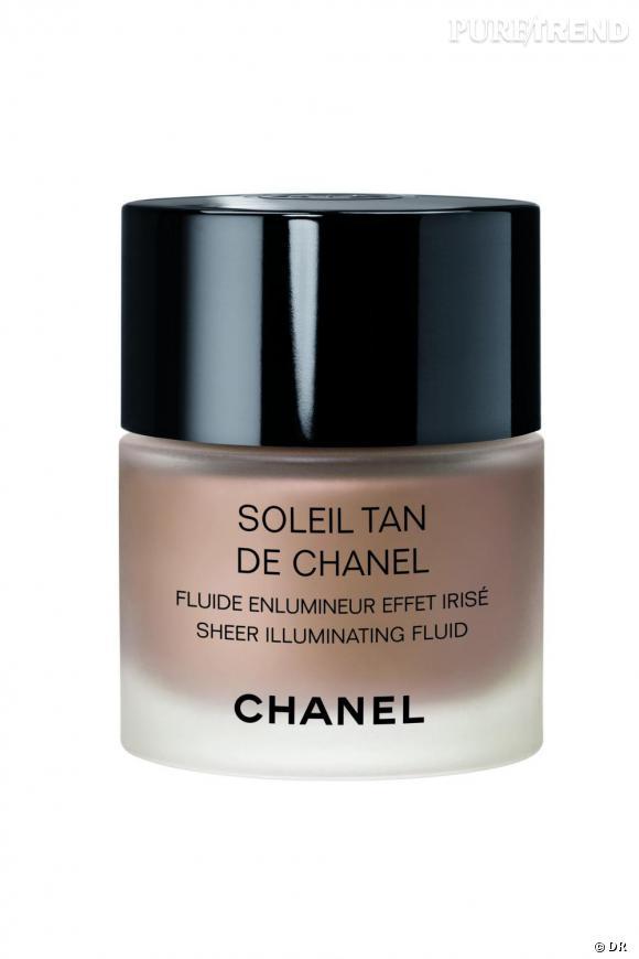 Je veux une peau bronzée       Un fluide enluminateur qui donne à la peau un léger hâle et la sublime d'une lumière irisée.    Soleil Tan de Chanel.  Prix : 37€