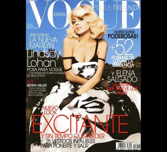 Lindsay Lohan en robe Dolce & Gabbana pour le Vogue espagnol.