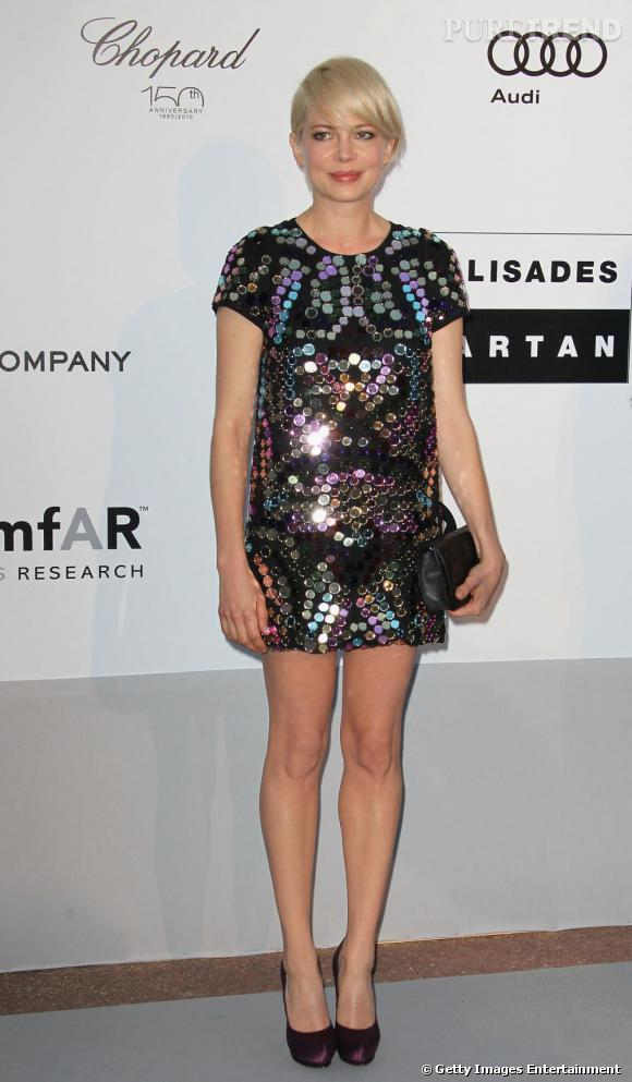 Michelle Williams brille de mille feux en robe Sonia Rykiel et ses sequins XL.