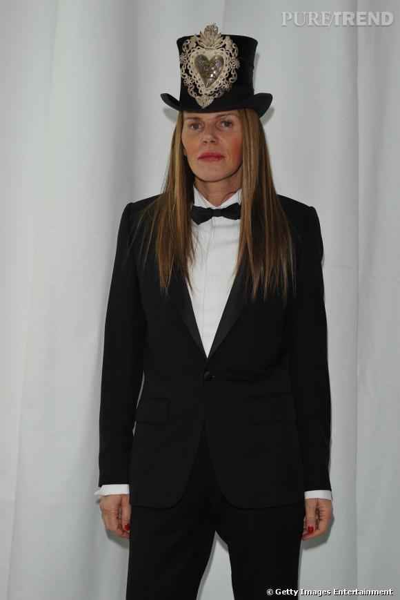 Anna Dello Russo à la soirée Dior Homme à Milan mardi.