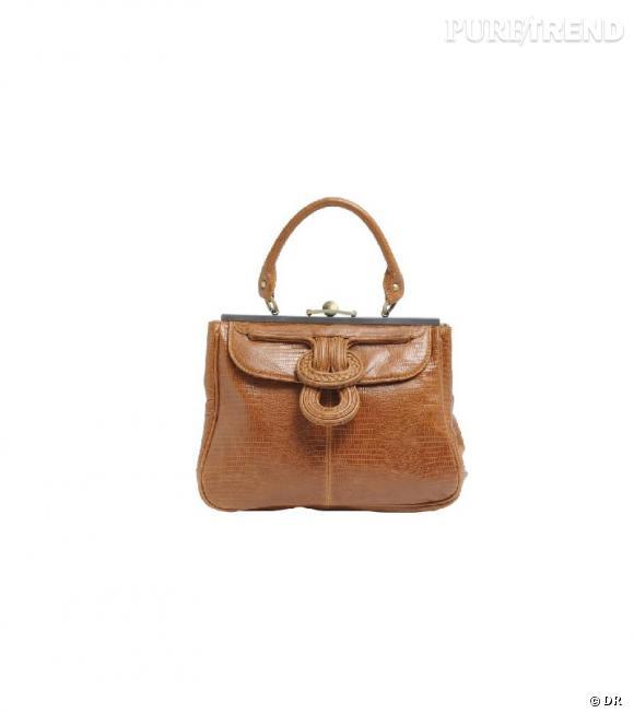 Sac Sugar en cuir camel, façon lézard  Cheet London, 235€ sur Galerieslafyette.com.