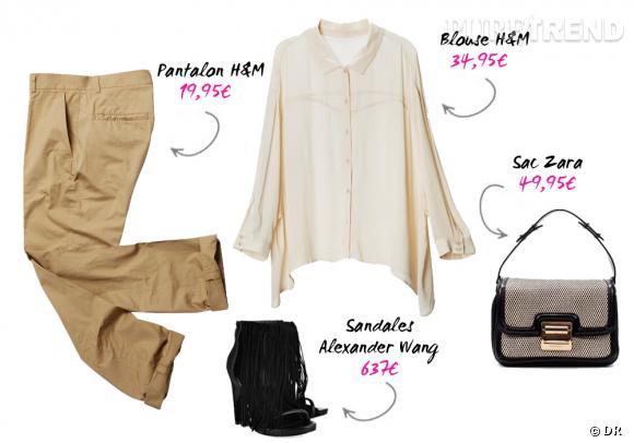 Pantalon et blouse H&M, sac Zara et sandales Alexander Wang sur net-a-porter.com.