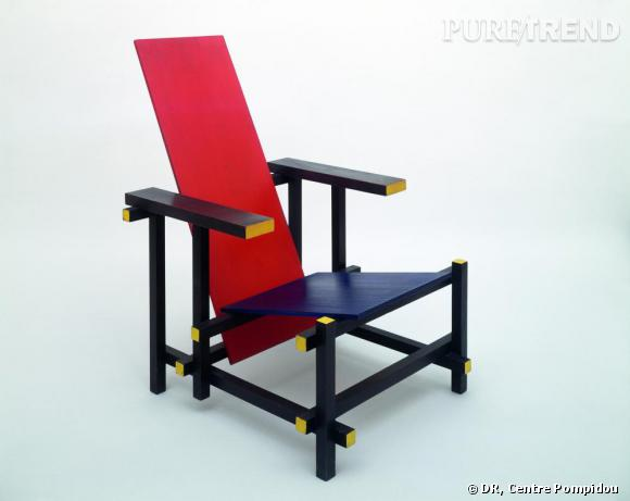 mondrian et de stijl chaise de rietveld cr e en 1924. Black Bedroom Furniture Sets. Home Design Ideas