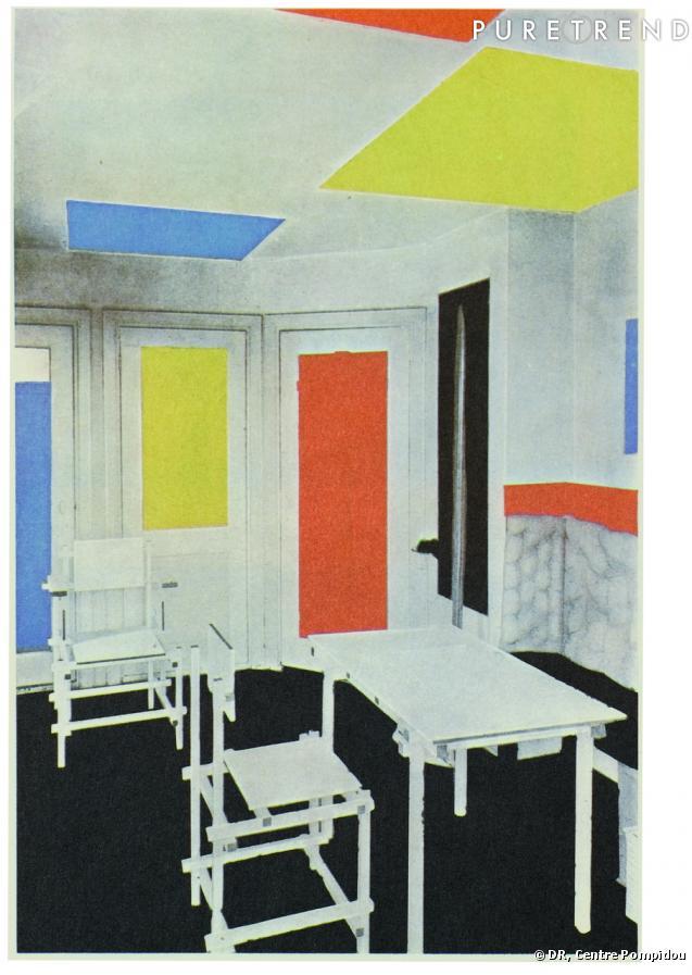 Mondrian et de stijl theo van doesburg et gerrit rietveld int rieur de la maison bart de ligt - Stijl des maisons ...