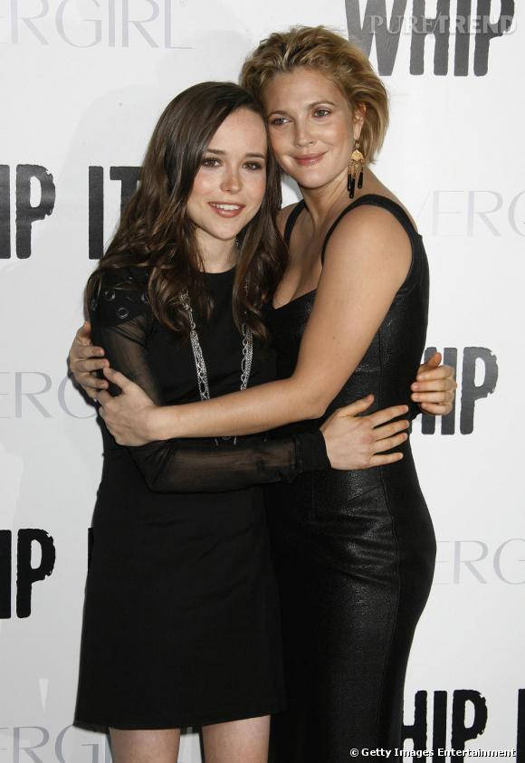 Bien qu'elles aient douze ans d'écart, Ellen Page et Drew Barrymore sont inséparables et raccord en total look noir.