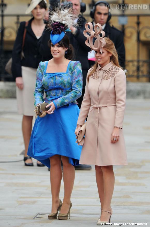 Les princesses Eugénie et Beatrice au mariage de Kate Middleton et du  prince William.