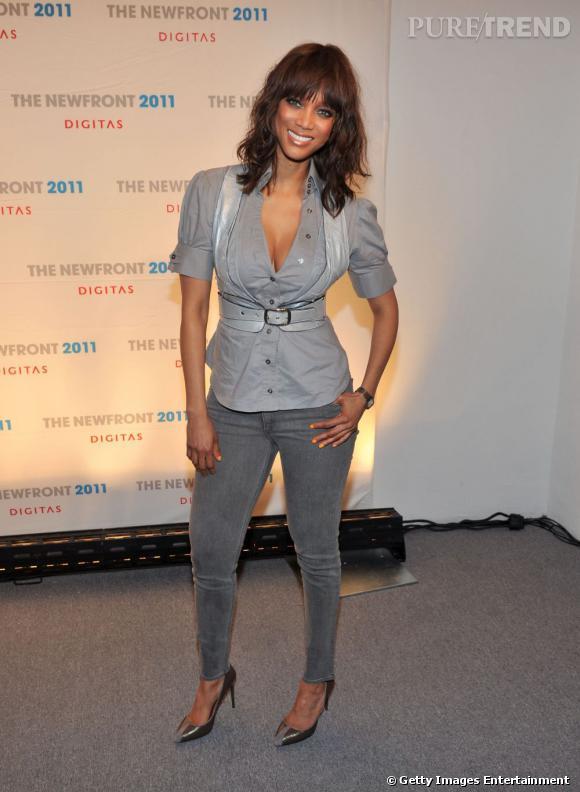 Tyra Banks lors de la conférence NewFront, à New York.