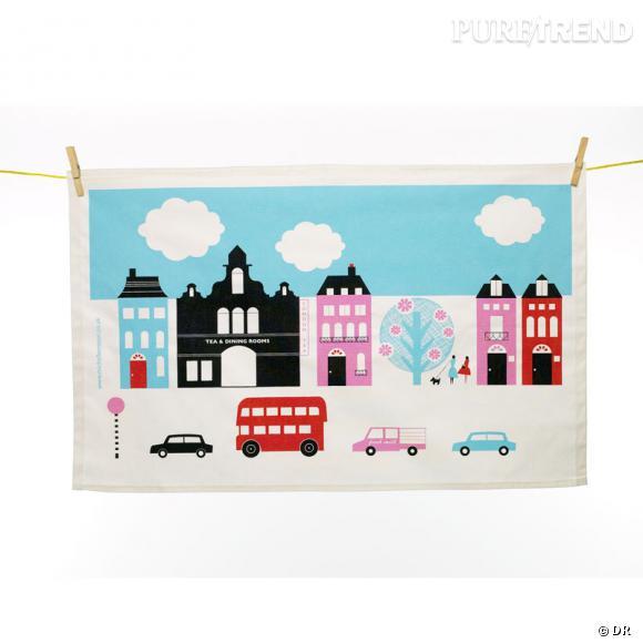 """""""Tea Towel"""" aux imprimés naïfs et colorés, Michelle Mason.   17 €."""
