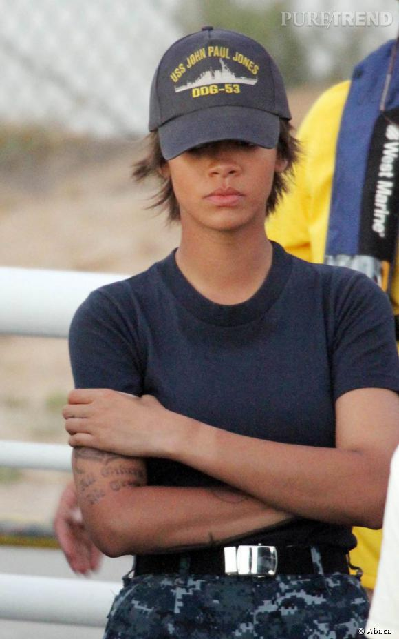 "Rihanna sur le tournage du film ""Battleship""."