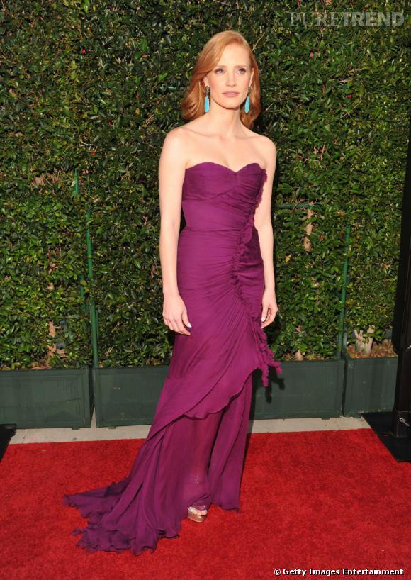 """Jessica Chastain, en Oscar de la Renta pour la première de """"The Help""""."""