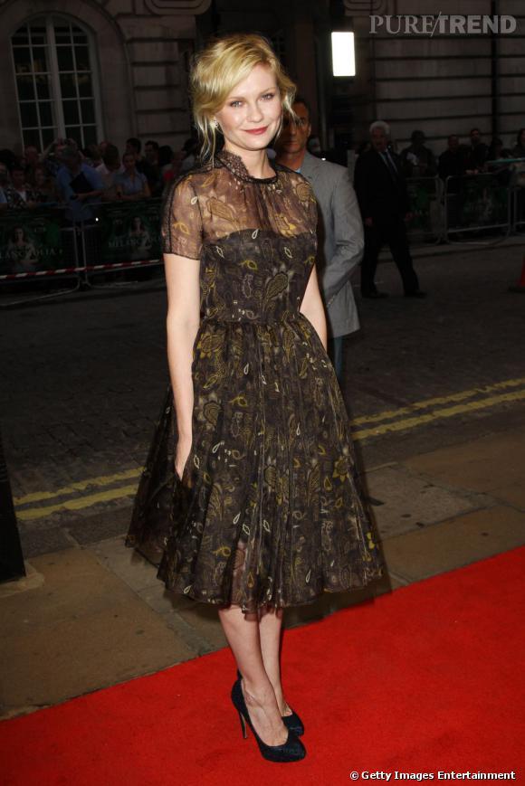 """Kirsten Dunst lors de la première anglaise de """"Melancholia"""" à Londres."""