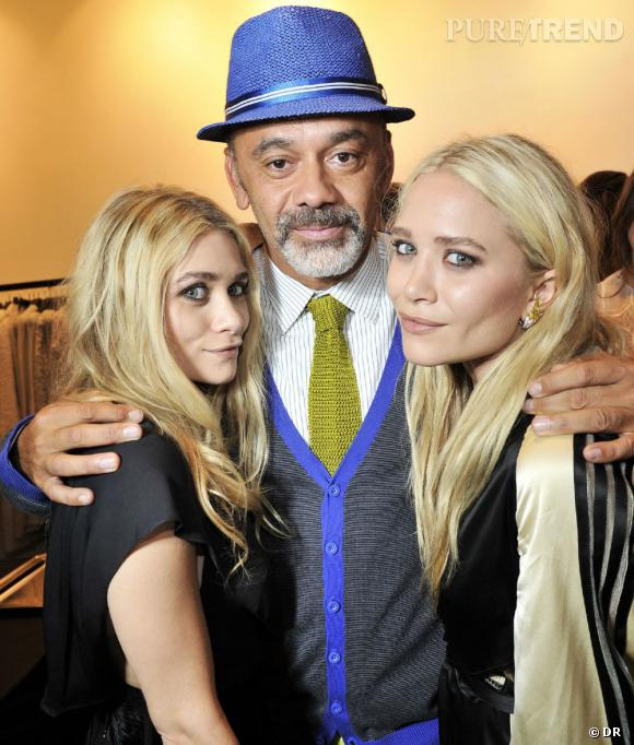 Mary-Kate et Ashley Olsen au côté de leur ami Christian Louboutin.