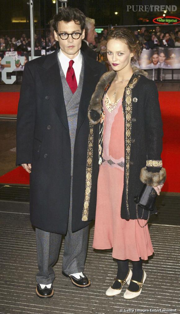 Vanessa Paradis et Johnny Depp ont l'air de sortir d'un film de gangster à l'époque de la prohibition.
