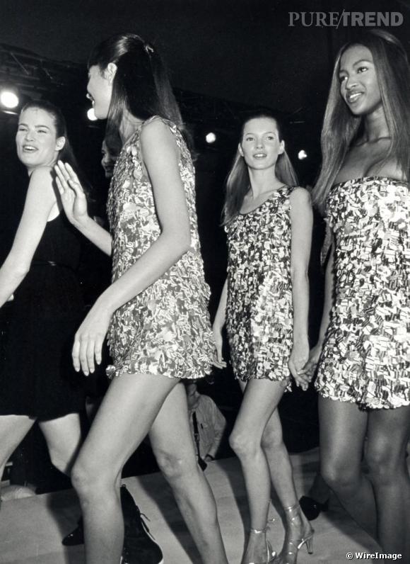 Kate et Naomi fraiches et innocentes au défilé Isaac Mizrahi en 1993