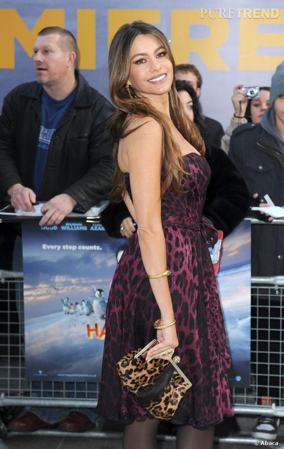 """Sofia Vergara à l'avant-première d'""""Happy Feet"""" à Londres."""