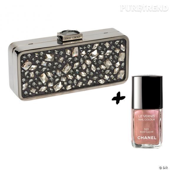 Vernis à ongles + it-bag : les it-combinaisons de l'Hiver Minaudière Claudia Jimmy Choo, 2995 € Vernis à ongles Rose Caché, collection Rouge Allure Velvet, Chanel, 20,40 €.