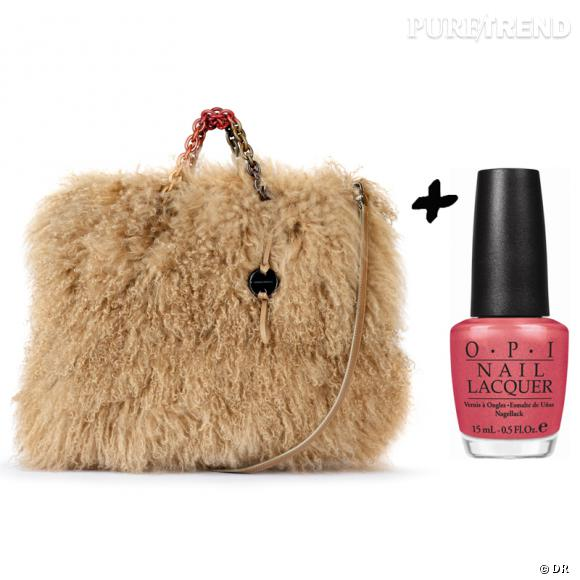 Vernis à ongles + it-bag : les it-combinaisons de l'Hiver    Sac en fourrure Sonia Rykiel, 1400 €   Vernis à ongles  My Address is Hollywood  OPI, 13,90 €