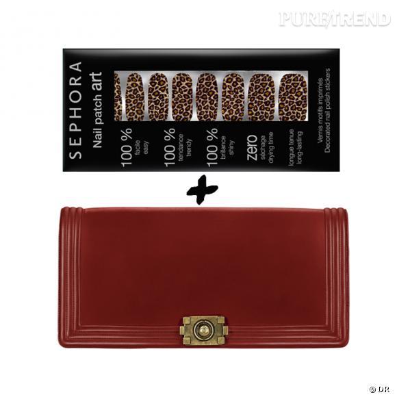 Vernis à ongles + it-bag : les it-combinaisons de l'Hiver    Pochette  Boy  Chanel, prix sur demande   Nail Patch Art  Leopard Rocks!  Sephora, 8,90 €