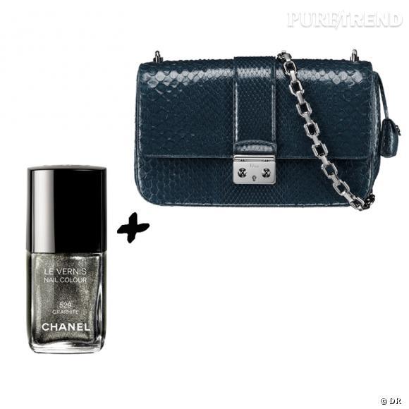 Vernis à ongles + it-bag : les it-combinaisons de l'Hiver    Sac  Miss Dior  en python Dior, 4200 €   Vernis à ongles  Graphite , collection  Illusions d'Ombres,  Chanel, 20,40 €