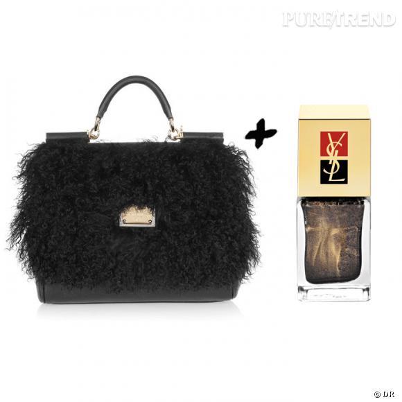 Vernis à ongles + it-bag : les it-combinaisons de l'Hiver    Sac Dolce & Gabbana, 1495 € sur  www.net-a-porter.com    Vernis à ongle  Noir Mordoré , collection  New Blacks , édition limitée yves Saint Laurent, 19 €