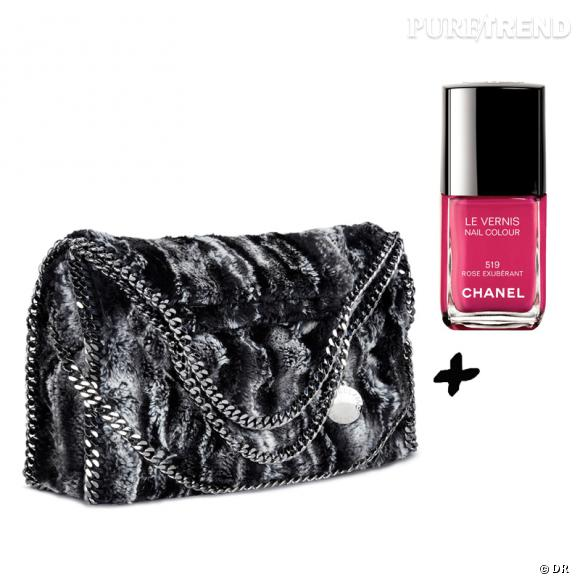 Vernis à ongles + it-bag : les it-combinaisons de l'Hiver    Sac  Falabella  collection  Ecologique  en fausse fourrure Stella McCartrney, 745 €   Vernis à ongles  Rose Exubérant , collection  Rouge Allure Velvet , Chanel, 20,40 €.