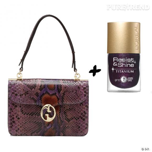 Vernis à ongles + it-bag : les it-combinaisons de l'Hiver    Sac  Gucci 1973  Gucci, 2400 €   Vernis à ongles  Resist & Shine  L'Oréal, 7,65 €.