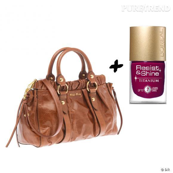 Vernis à ongles + it-bag : les it-combinaisons de l'Hiver    Sac Miu Miu, 950 € sur  www.miumiu.com    Vernis à ongles  Resist & Shine  L'Oréal, 7,65 €