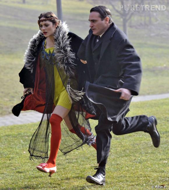 Marion Cotillard et Joaquin Phoenix dans le Prospect Park de Brooklyn.
