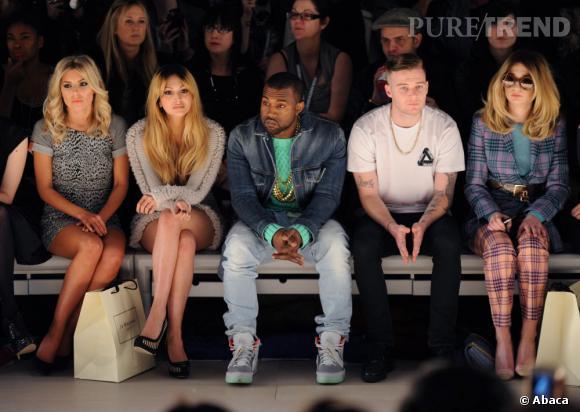 Mollie King, Zara Martin, Kanye West et Nicola Roberts au premier rang Christopher Kane.