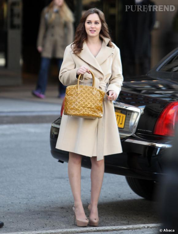 "Leighton Meester sur le tournage de ""Gossip Girl"" à New York."