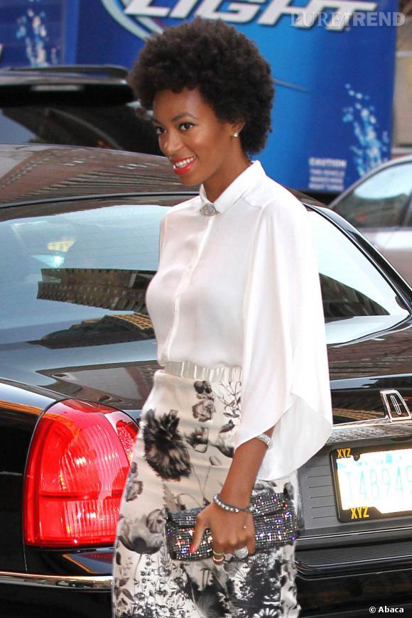 Solange Knowles se rend à un dîner organisé par Michelle Obama à New York.