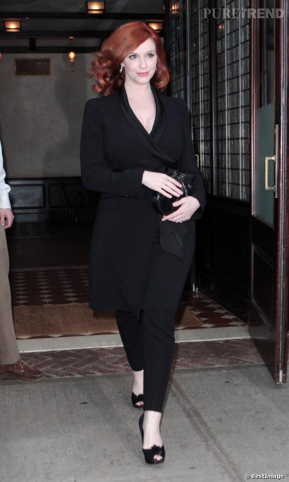 Christina Hendricks dans les rues de New York.