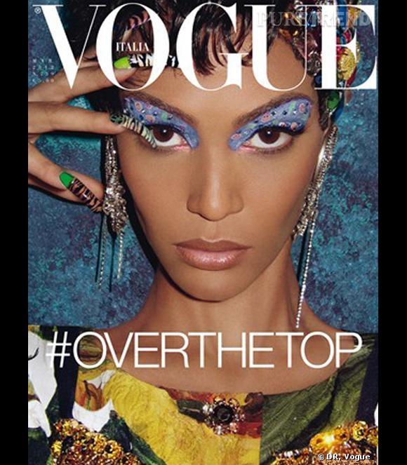 Joan Smalls shootée par Steven Meisel pour Vogue Italie, ambiance Studio 54 vintage.