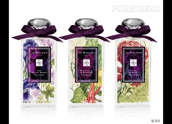 Collection London Blooms de Jo Malone, 3 parfums : Peony & Moss, White Lilac & Rhubarb, Iris & Lady Moore, 100 ml, 88 € l'un.