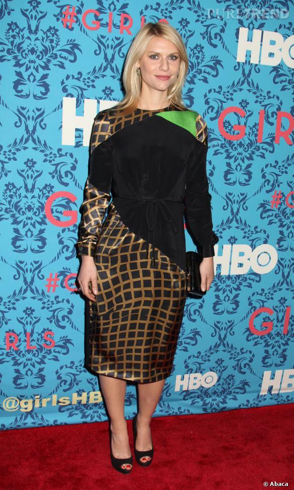 """Claire Danes à la première de la série """"Girls"""" à New York."""