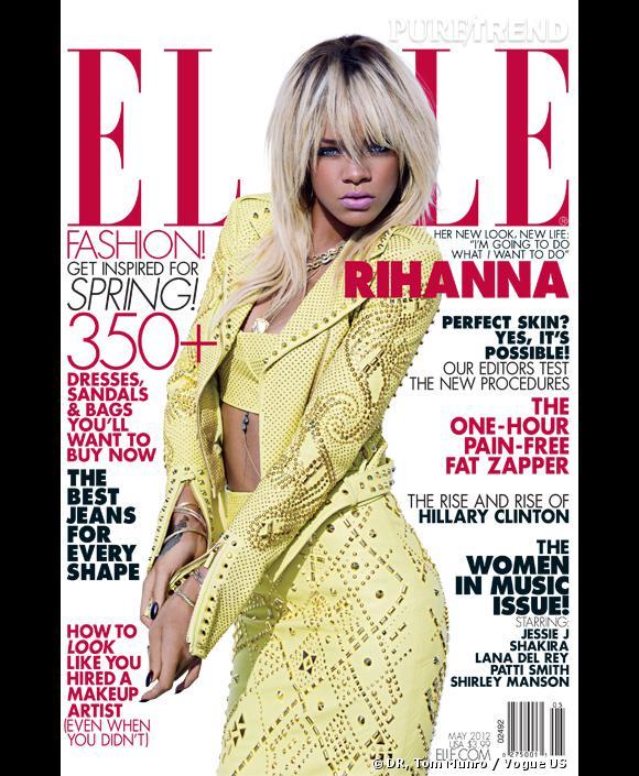 Rihanna, diva en cuir Versace en couverture du numéro de mai 2012 de l'édition américaine d'Elle.