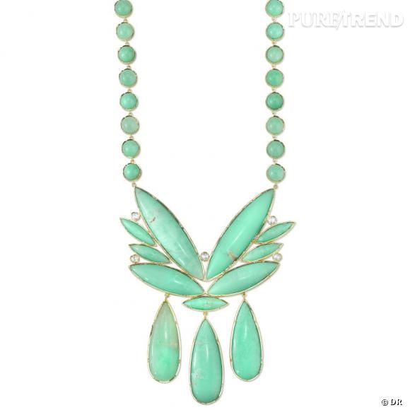 Collier Irene Neuwirth  Collier en or jaune, chrysoprase et diamants.  Prix sur demande.