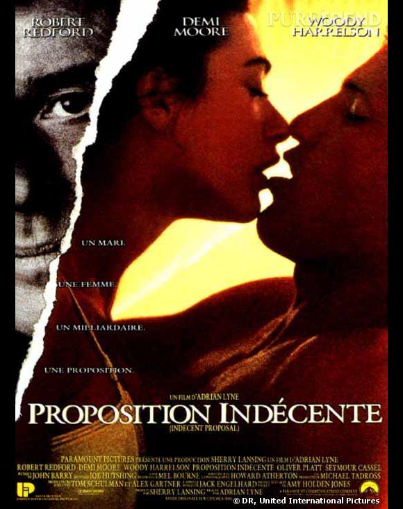 """Affiche du film """"Proposition indécente"""", Demi Moore n'a pas fait dans la demi-mesure."""