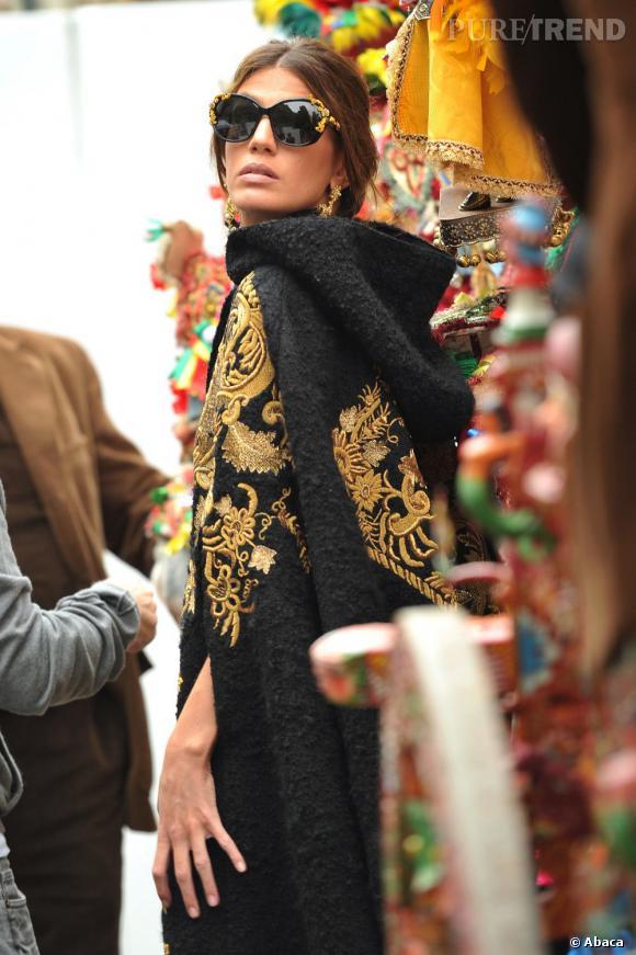 Bianca Brandolini d'Adda en pleine séance photo pour la nouvelle campagne Dolce & Gabbana à Taormine en Italie.