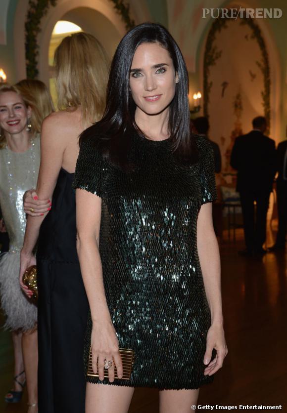 """Jennifer Connelly porte à merveille le Gucci lors de la soirée organisée pour la ré-édition du film """"Il était une fois en Amérique"""""""