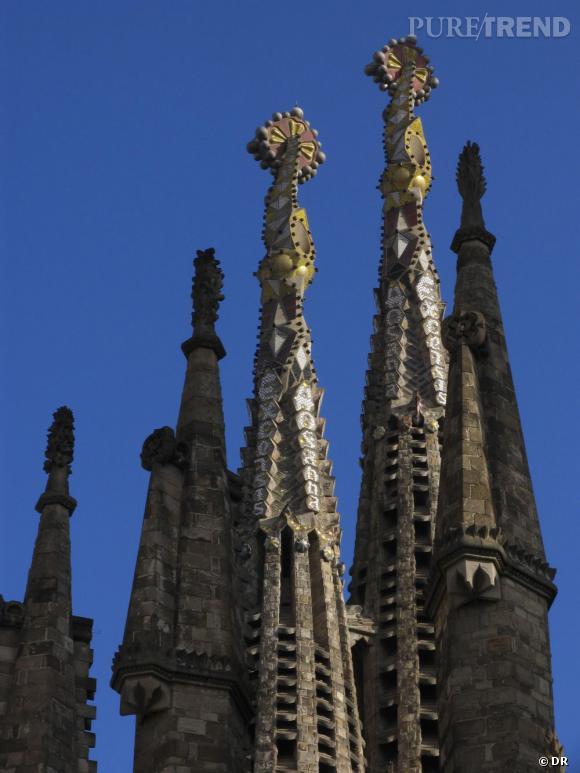 Détail de la Sagrada Familia construite par Gaudi.