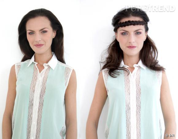 La couronne tressée hippie confère une allure bohème à toutes nos tenues. Que ce soit une petite chemise élégante ou une longue robe blanche et vaporeuse. Chemise Calice de Sandro, 145 €.